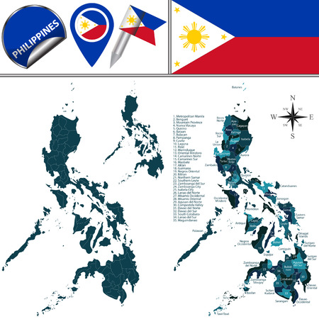filipino: Vector map of Philippines with named regions and travel icons