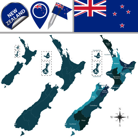 regions: Vector map of New Zealand with named states and travel icons.