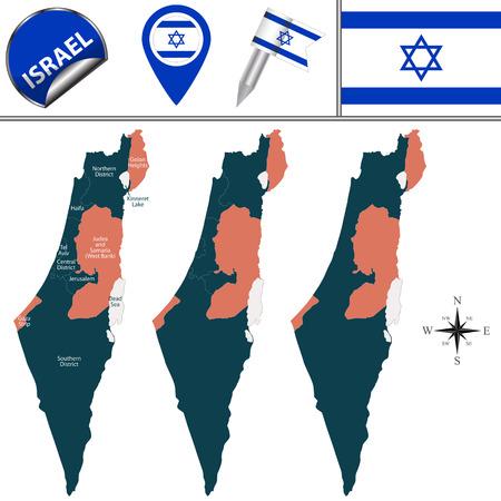 Vector kaart van Israël met naam districten en reizen iconen