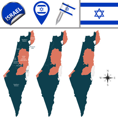 israel flag: Vector map of Israel with named districts and travel icons