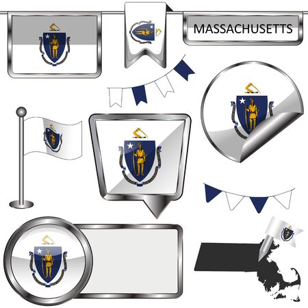 Vector glossy icons of flag of state Massachusetts on white
