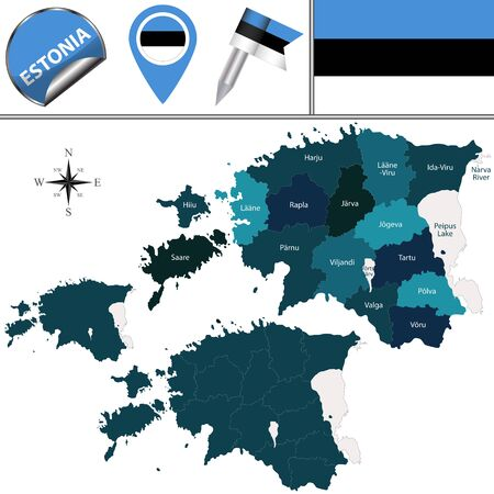 ida: Vector map of Estonia with named counties and travel icons