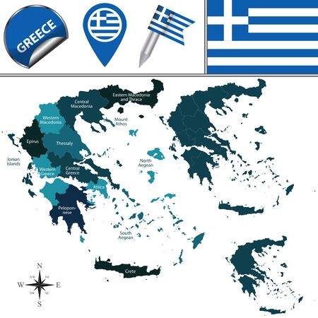 regions: map of Greece with named regions and travel icons