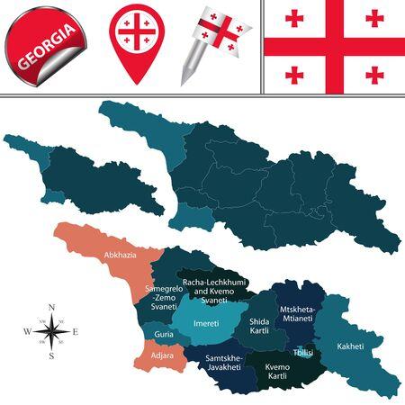 superficie: mapa de Georgia con divisiones con nombre y los iconos de viajes Vectores