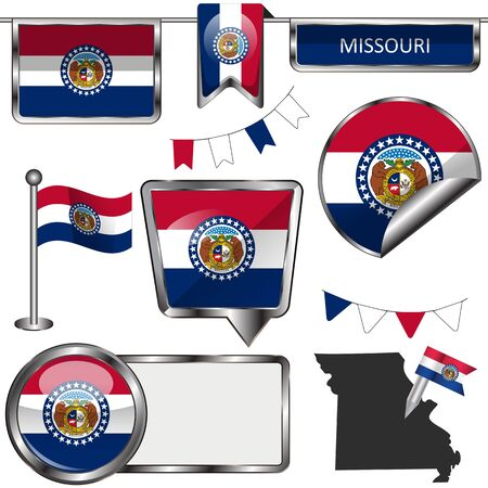 Vector glossy icons of flag of state Missouri on white