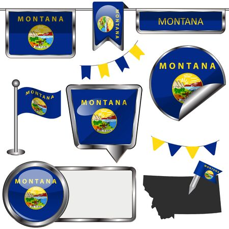 Vector glossy icons of flag of state Montana on white Ilustrace