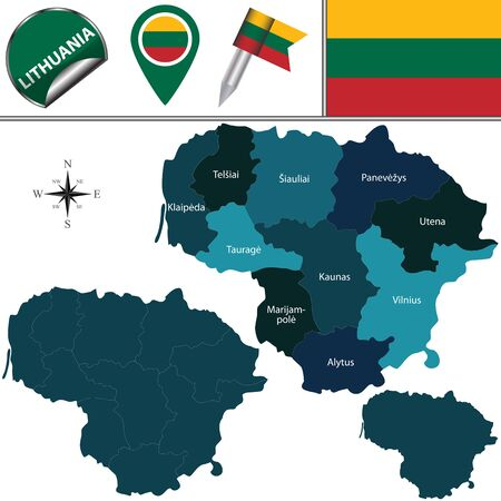 named: Vector map of Lithuania with named counties and travel icons