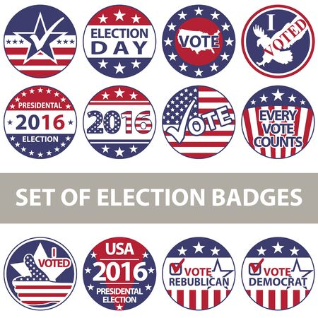 voting: set of voting badges for elections with United States flag