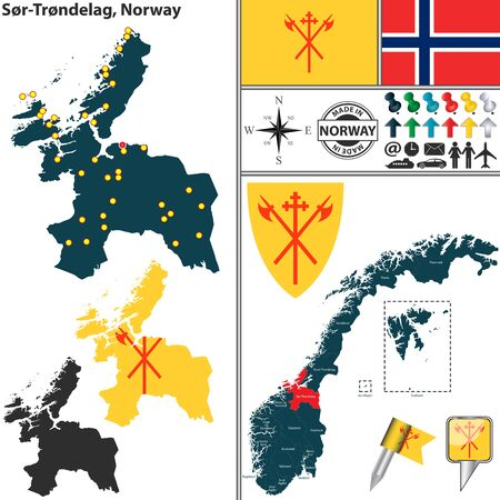 norwegian flag: map of county Sor-Trondelag with coat of arms and location on Norwegian map