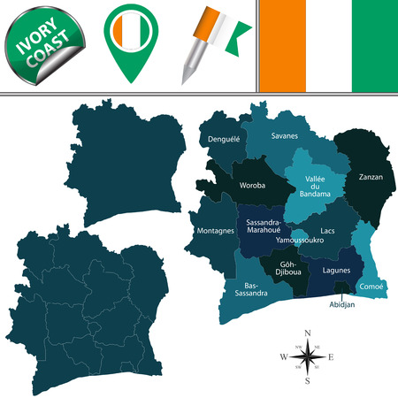 districts: map of Ivory Coast with named districts and travel icons Illustration