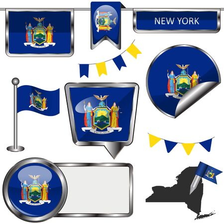 glossy icons: glossy icons of flag of state New York on white