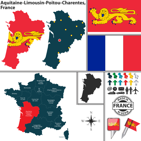 bordeaux region: map of region Aquitaine-Limousin-Poitou-Charentes with flag and location on France map