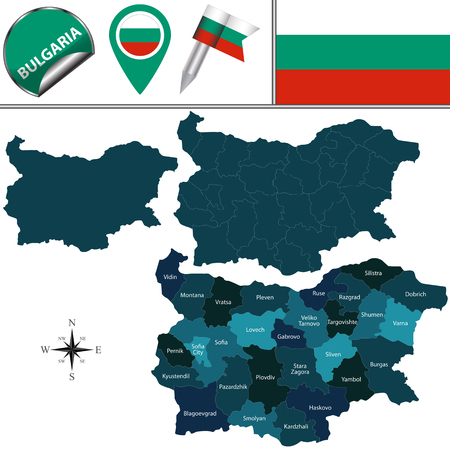 named: map of Bulgaria with named provinces and travel icons