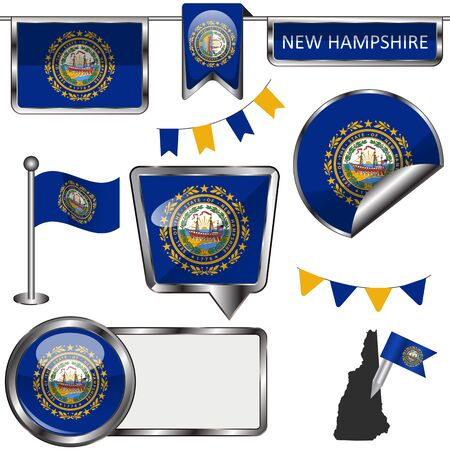 glossy icons of flag of state New Hampshire on white Ilustrace