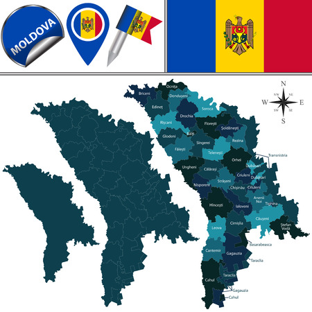 divisions: map of Moldova with named divisions and travel icons