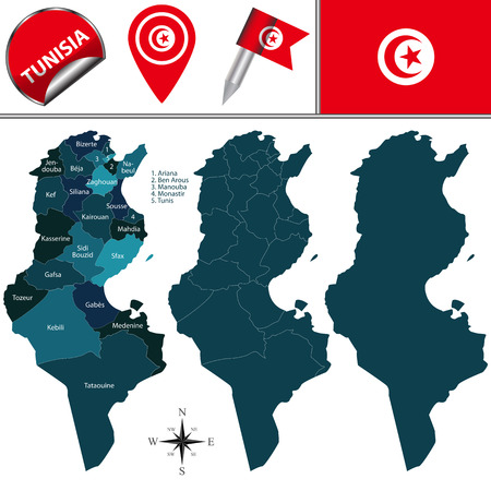 named: map of Tunisia with named governorates and travel icons