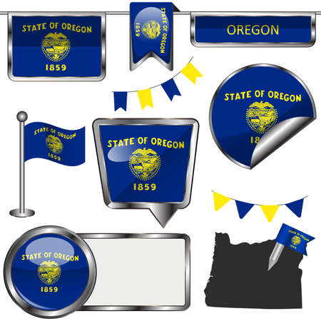oregon: glossy icons of flag of state Oregon on white Illustration