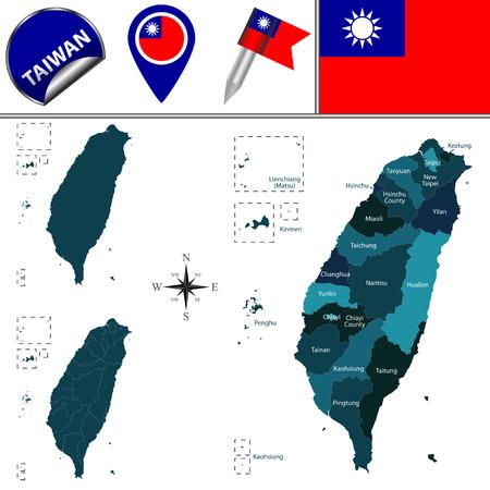 Karte von Taiwan mit dem Namen Divisionen und Reise-Ikonen Vektorgrafik