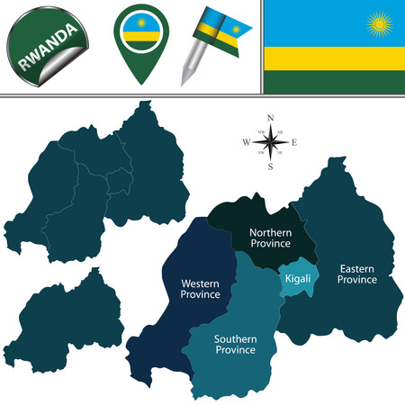 kigali: map of Rwanda with named provinces and travel icons