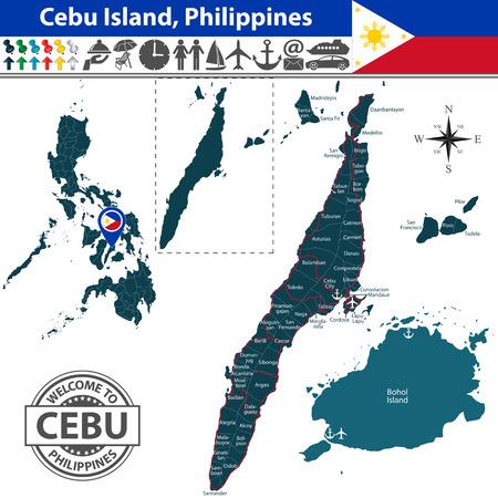 philippines map: Cebu island, Philippines. Map contains Bohol island, roads and travel icons Illustration