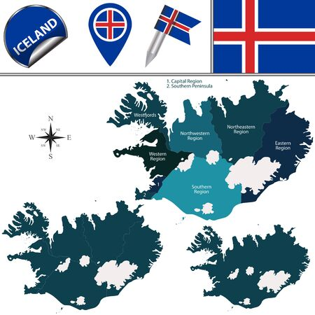 iceland: map of Iceland with named regions and travel icons