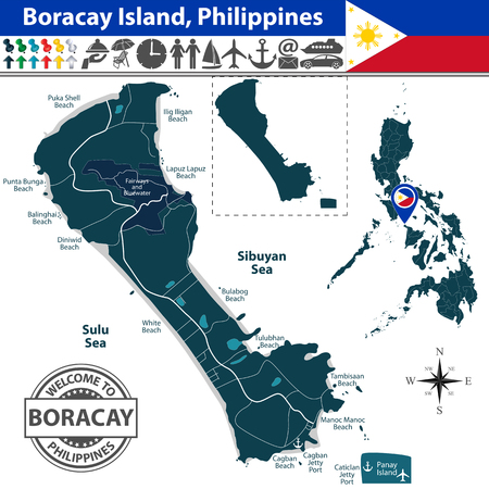 filipino: Boracay island, Philippines. Map contains beaches, roads and travel icons