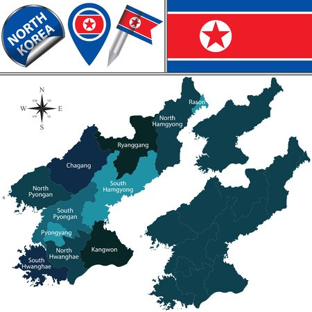korea map: map of North Korea with administrative divisions and travel icons Illustration