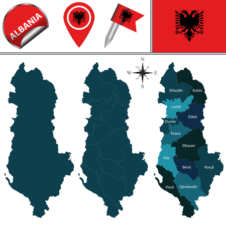 divisions: map of Albania with named divisions and travel icons Illustration