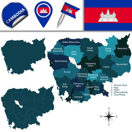 map of Cambodia with named provinces and travel icons 向量圖像
