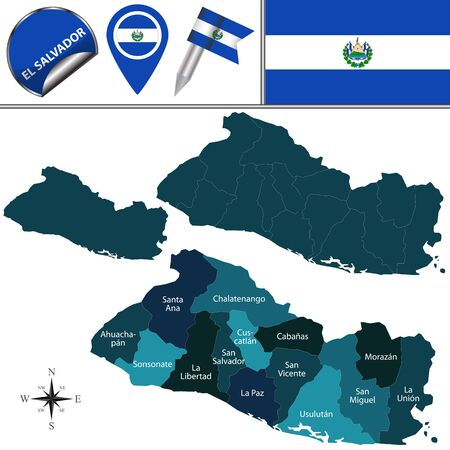 el salvadoran: map of El Salvador with named departments and travel icons Illustration