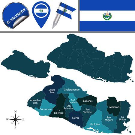 mapa de el salvador: mapa de El Salvador con los departamentos con nombre y los iconos de viajes