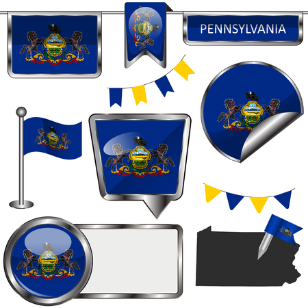 keystone light: glossy icons of flag of state Pennsylvania on white Illustration