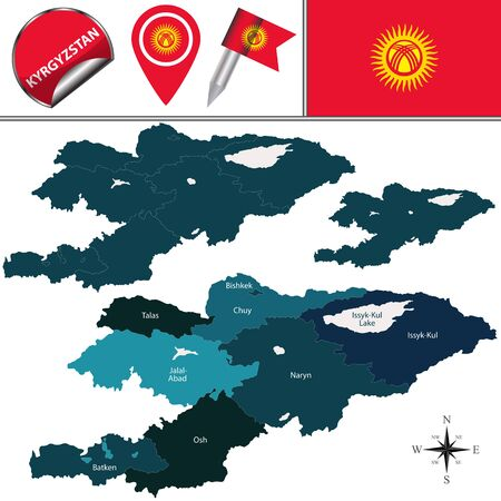 osh: Vector map of Kyrgyzstan with named regions and travel icons Illustration