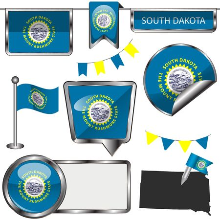 Vector glossy icons of flag of state South Dakota on white Ilustrace