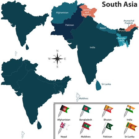 south asia: political map of South Asia set with flags on white background