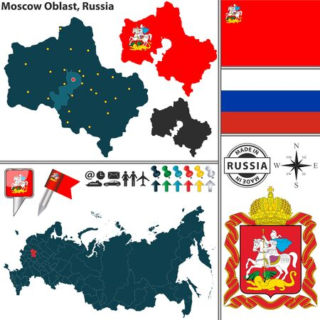 oblast: Moscow Oblast with coat of arms and location on Russian map