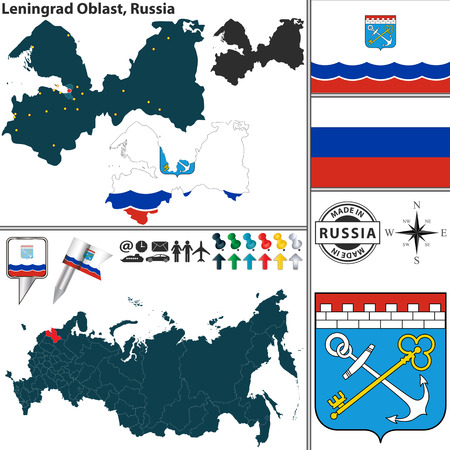 oblast: map of Leningrad Oblast with coat of arms and location on Russian map