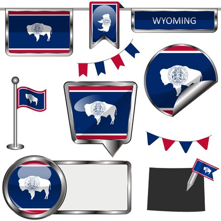 cheyenne: glossy icons of flag of state Wyoming on white