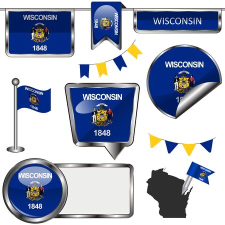 madison: glossy icons of flag of state Wisconsin on white