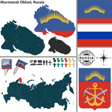 oblast: map of Murmansk Oblast with coat of arms and location on Russian map Illustration