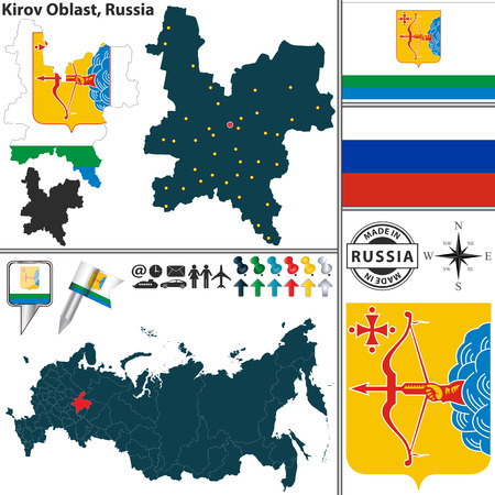 oblast: map of Kirov Oblast with coat of arms and location on Russian map Illustration