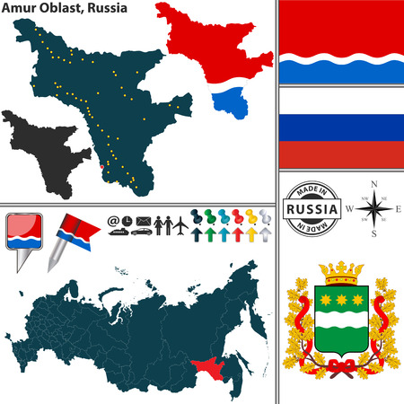 oblast: map of Amur Oblast with coat of arms and location on Russian map