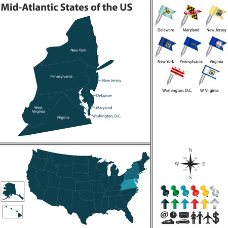 set of Mid Atlantic states of the United States with flags and map on white background