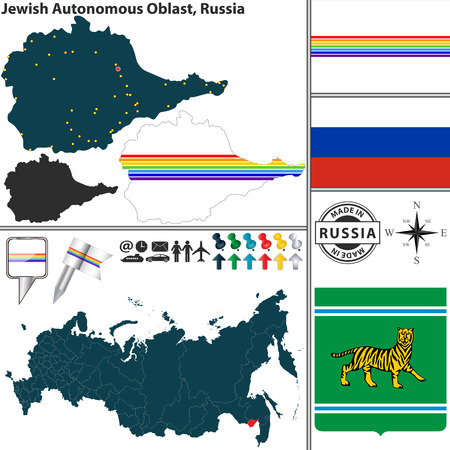 autonomous: map of Jewish Autonomous Oblast with coat of arms and location on Russian map