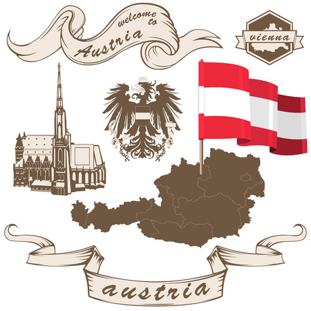 austrian flag: vintage Austrian set with St Stephens Cathedral (Stephansdom), coat of arms, map and ribbons