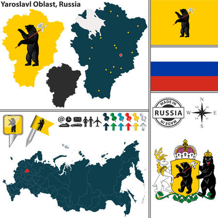 oblast: map of Yaroslavl Oblast with coat of arms and location on Russian map
