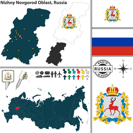 oblast: map of Nizhny Novgorod Oblast with coat of arms and location on Russian map