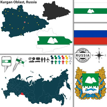 oblast: map of Kurgan Oblast with coat of arms and location on Russian map Illustration