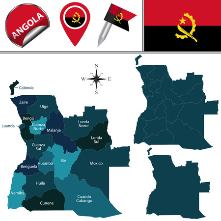 zaire: map of Angola with named provinces and travel icons