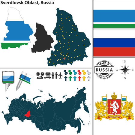 oblast: map of Sverdlovsk Oblast with coat of arms and location on Russian map